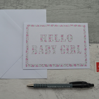 Baby Girl card, New Baby card, Hello Baby Girl card