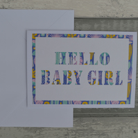 Hello Baby Girl card, Baby Girl card, New Baby card,