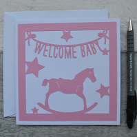 Welcome Baby, New Baby Girl card,