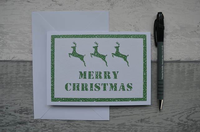 Reindeer Christmas card, Merry Christmas card,