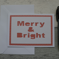 Christmas card, Merry & Bright, Happy Christmas
