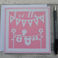 Hello Baby card, Personalised card, New Baby