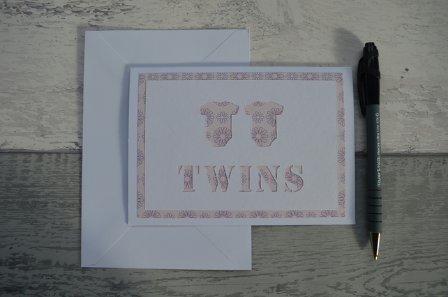New Baby Twins card, Twin Girls