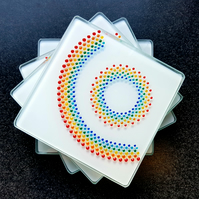 Hand Painted Rainbow Glass Coaster