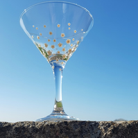 Hand Painted Decorated Martini Cocktail Glass 'Daisy'