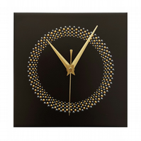 Black Hand Painted Square Wall Clock 20cm