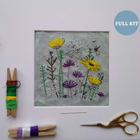 Wild Flower Irish Linen Stamped Embroidery Kit ,Creative gifts, Embroidery Kit