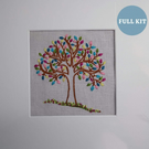 Mindfulness embroidery, positivity tree embroidery kit