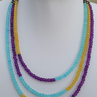 Blue yellow purple necklace,Multistrand multicolour beaded necklace
