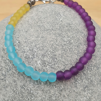 Multicolour beaded bracelet,Blue purple yellow beaded bracelet