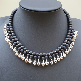 Black and silver choker,Black beads and silver bells necklace