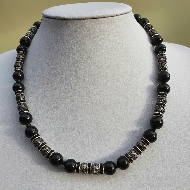 Black large beaded necklace,Black handmade necklace,Gift for friend