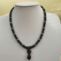 Black beaded necklace with pendant,Handmade pendant necklace,Gift for her