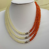 Pale yellow burnt orange necklace,Yellow orange multistrand necklace,Valentine