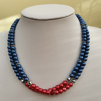 Red and blue choker,Blue and red pearl necklace,2 strand necklace