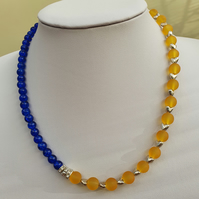 Blue,yellow and silver heart necklace,Blue and yellow beaded  necklace