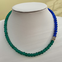 Blue and green choker necklace,Blue and green beaded necklace
