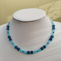 Teal blue and sky blue choker,Blue beaded choker