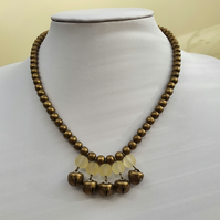 Antique bronze and glass beaded necklace,Jingle bell necklace