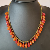Red and orange necklace,Golden chain necklace,Bead dangles necklace