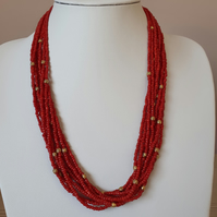 Red multistrand seedbead necklace with gold spacer beads,Red and gold necklace