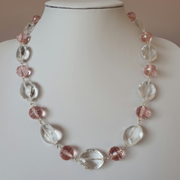 Clear acrylic and pale pink crystal bead necklace,Statement necklace