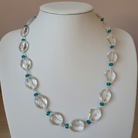 Large clear acrylic bead necklace,Acrylic clear and blue long necklace