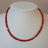 Red and gold choker,Red seedbead and gold flower necklace