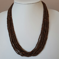 Dark brown necklace,Brown multistrand seedbead necklace