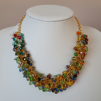 Multicolour cluster necklace,Sparkling statement necklace