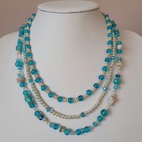 Blue and silver 3 strand necklace,Aqua Blue and silver statement necklace