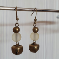 Pale yellow and bronze earrings,Dangle and drop earrings,Jingle bell earrings