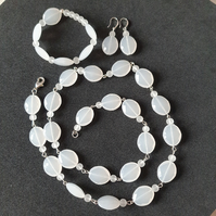 White acrylic jewellery set,Necklace bracelet earrings set,Fun holiday jewellery