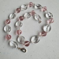Acrylic and crystal beads necklace,Pale pink necklace,Sparkling necklace