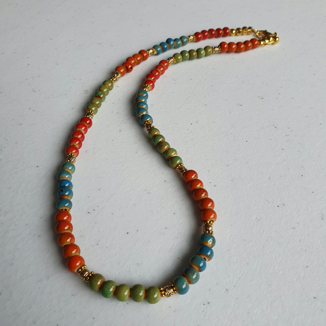 Ceramic beads necklace,Colourful ceramic and gold necklace,Birthday gift