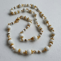White and gold beaded long necklace,White and gold beaded chain necklace