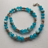 Aqua blue ceramic and crackle glass  necklace,Blueandsilver statement necklace