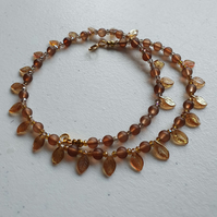 Brown leaf necklace,brown beaded necklace