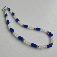 Blue,white and silver beaded necklace,Silver flower necklace