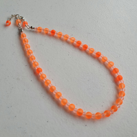 Orange beaded choker,Orange beaded necklace