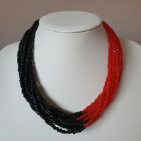 Red and black multistrand seed bead necklace,statement necklace