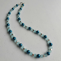 Teal blue and sky blue beaded necklace,Blue necklace