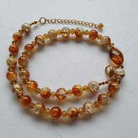 Amber gold brown necklace,Amber gold crackle glass bead necklace