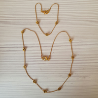 Gold snake chain jewellery set,Gold chain necklace and bracelet gift set
