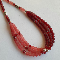 Pink & red beaded multistrand necklace,Pale pink wine red bead choker,Valentine