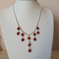Red bead silver chain necklace earrings,Dangling beads necklace,Valentine gift