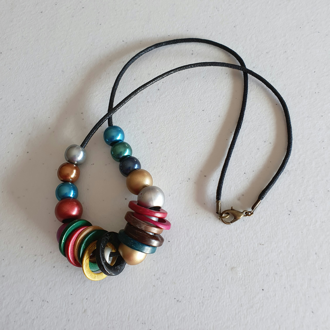 Cord necklace,Long necklace,Colourful pony bead necklace,Wooden ring necklace
