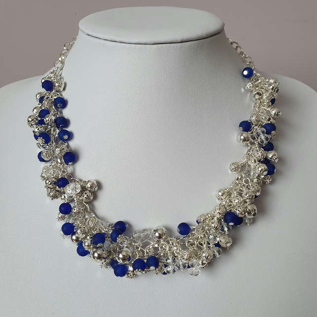 Royal blue and silver beaded cluster necklace,Gift for her,Indian jewellery