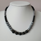 Black & grey beaded necklace,Grey pearl necklace,Gift for her,Mother's day gift