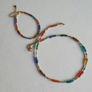 Rainbow seedbead necklace anklet set,Colourful beaded jewellery,Friendship gift